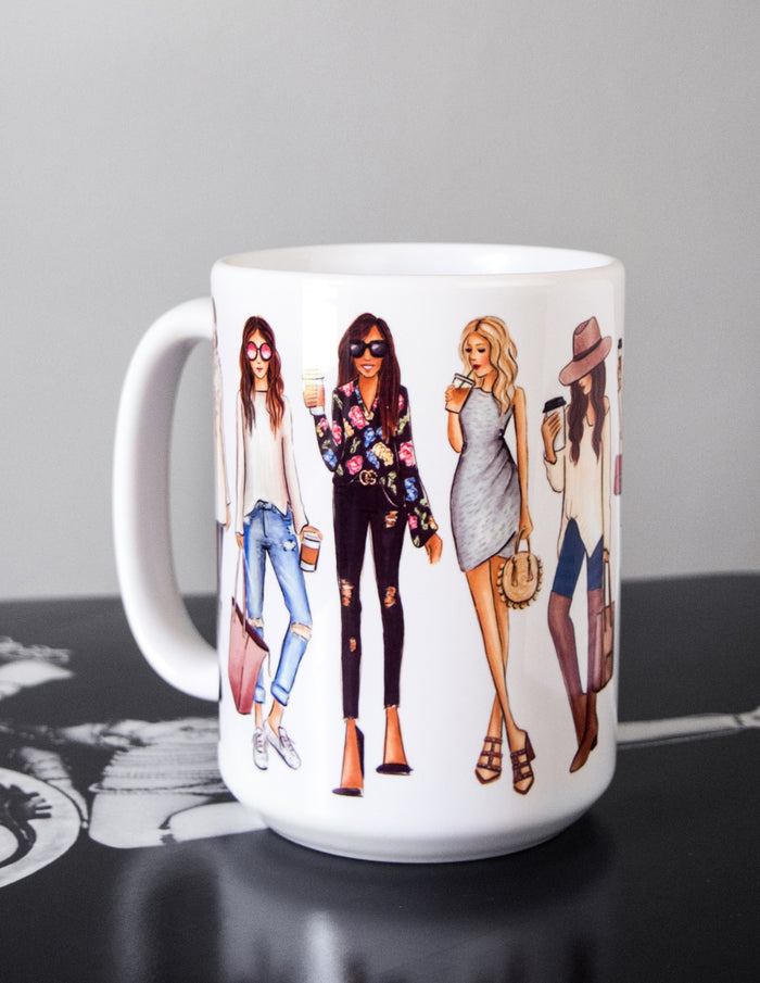 kara ashley, shreeve, design, art, illustration, mug, coffee, tea, fashion girls
