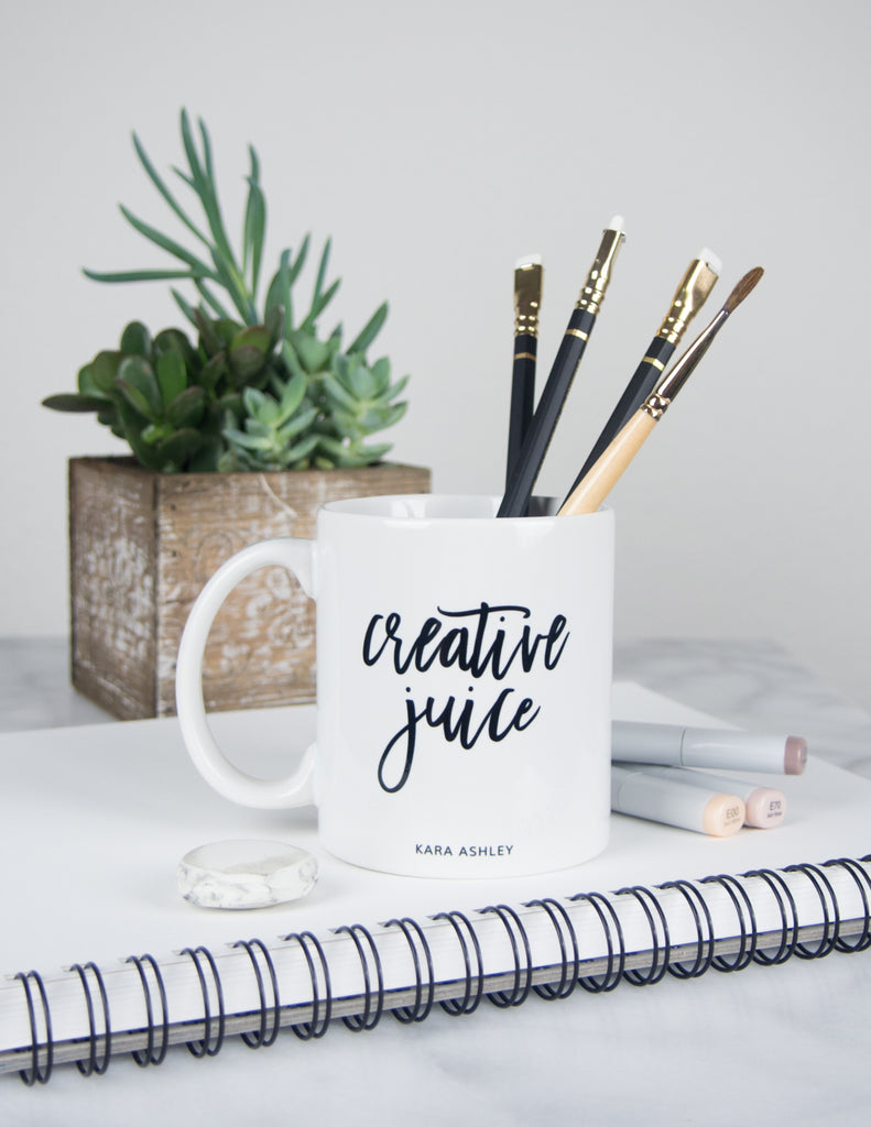 kara ashley, design, mug, fashion, girl boss, office, creative juice, succulents, blackwing, pencil, paint brush
