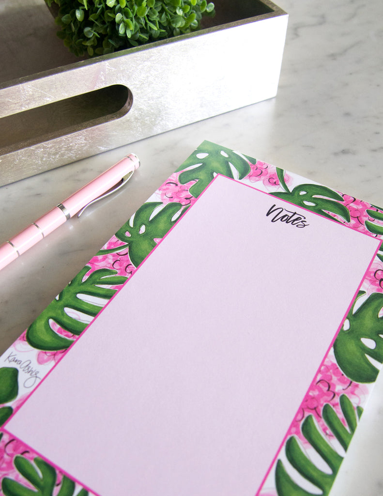 kara ashley, shreeve, design, art, illustration, notepad, beverly garden, beverly hills, hotel, palm, pink
