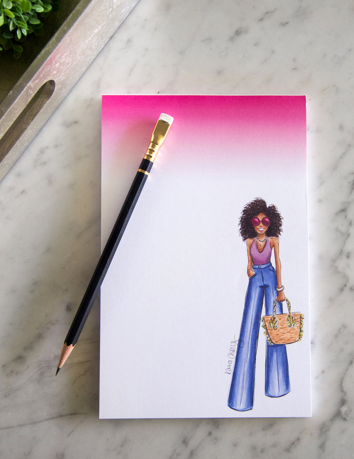 kara ashley, shreeve, design, art, illustration, notepad, breezy boho, bohemian, natural hair, african american, summer, pink, ombre