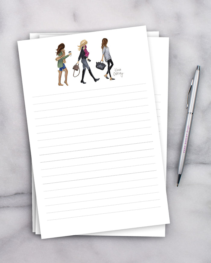 Walking Fall Girls Trio Notepad
