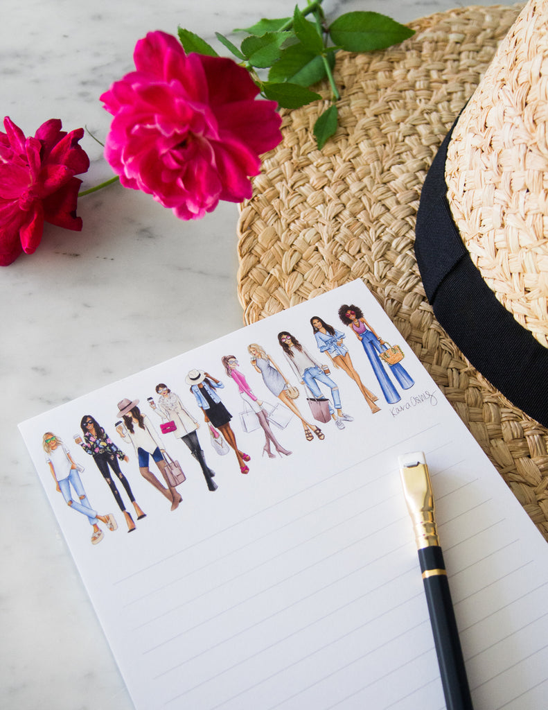 kara ashley, shreeve, design, art, illustration, notepad, fashion girl, squad, fedora, roses