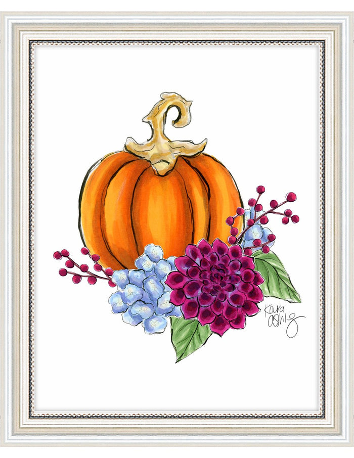 kara ashley, artwork, illustration, art print, fall, pumpkin, leaves, sweater weather