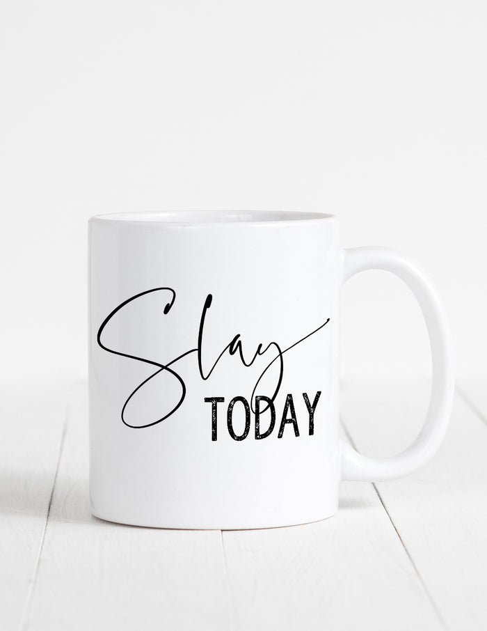kara ashley, illustration, artwork, mug, text, boss, slay, slay today,  motivational