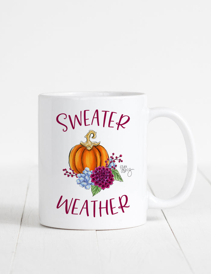 kara ashley, illustration, artwork, mug, text, fall, pumpkin, dahlia, sweater weather