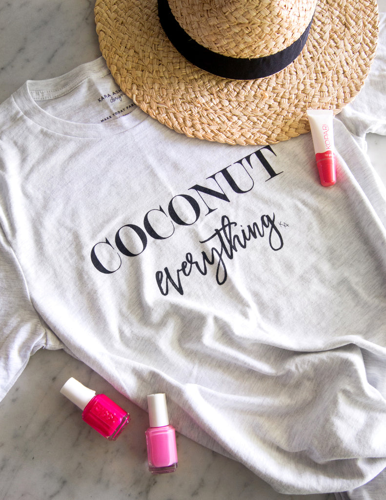 kara ashley, shreeve, design, art, illustration, shirt, tee, t shirt, coconut, summer, coconut everything, tropical, essie nail polish, kopari gloss