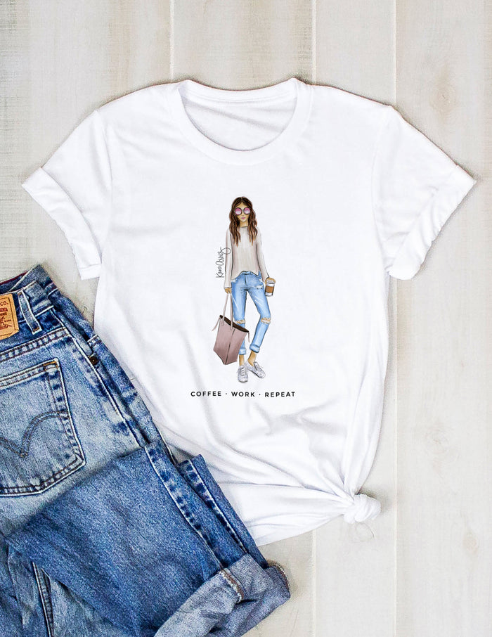 kara ashley, shreeve, design, art, illustration, shirt, tee, t shirt, coffee, coffee work repeat, fashion girl