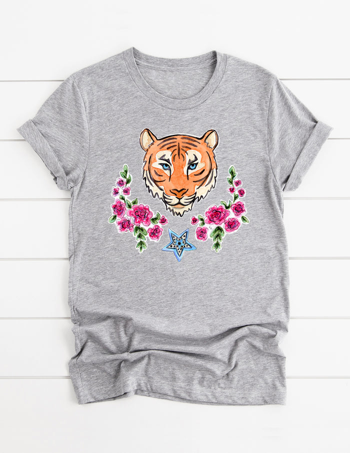 kara ashley, design, t shirt, shirt, illustration, tee, graphic, tiger, le tigre, gucci, patches, roses, lamour, tigre