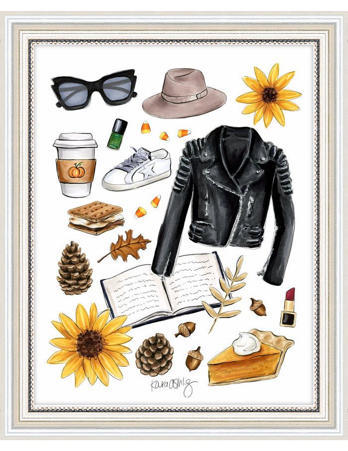 kara ashley, artwork, illustration, art print, fall, pumpkin, leaves, sweater weather, leather jacket, cool, biker