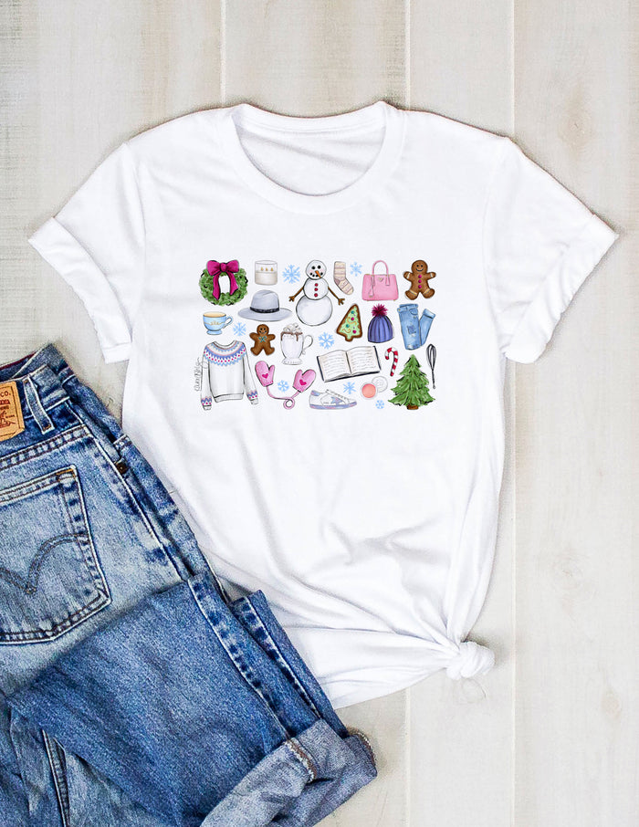 christmas, winter, collage, illustration, drawing, shirt, tee, cute, holiday, fashion, kara ashley