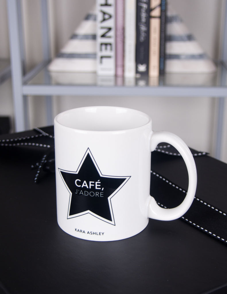 kara ashley, shreeve, design, artwork, illustration, french, paris, graphic, mug, coffee, tea, star, designer, inspired, saint laurent, j'adore