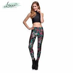 Mexican Skulls Pattern Print Leggings