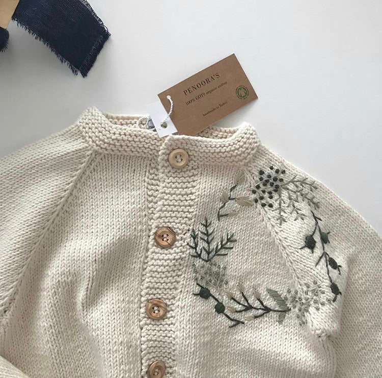 Hand-Embroidered Cardigan - Natural/Green