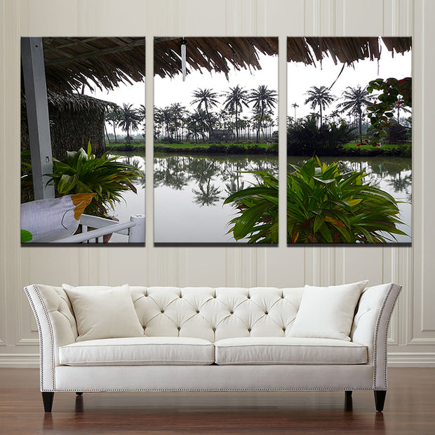 3 Panel Print Vietnam River Relaxation Canvas Art