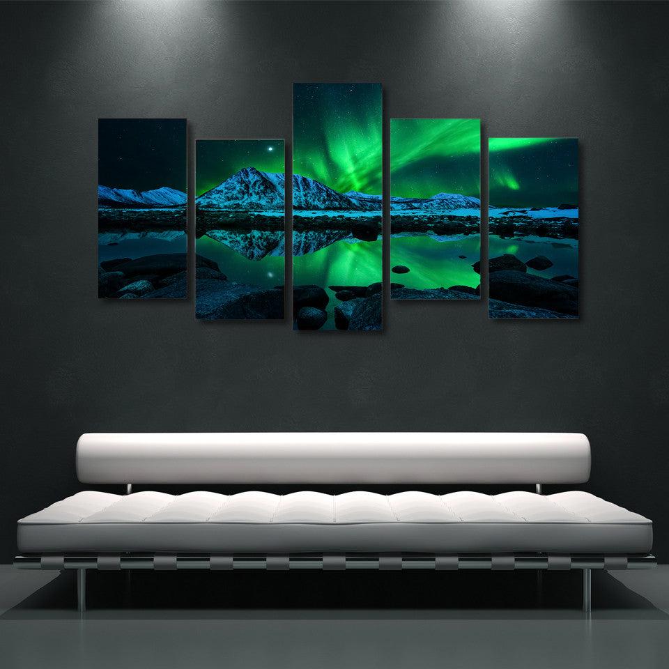 5 Pieces Canvas Panel Prints Aurora Borealis Waterproof Ink Painting Wall Art Home Decor