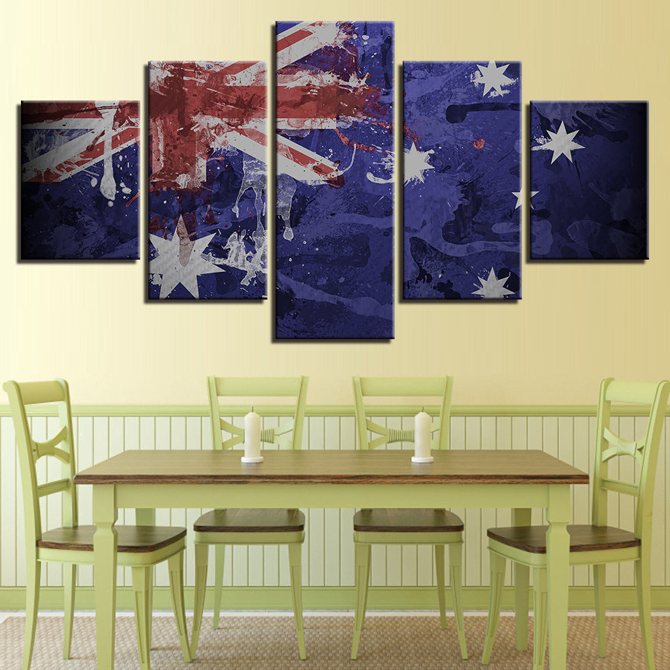 5 Panel Print Artistic Australian Flag Canvas Wall Art Print Ready ...