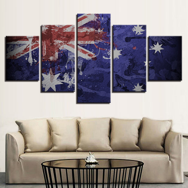5 Panel Print Artistic Australian Flag Canvas Wall Art Print Ready To Hang