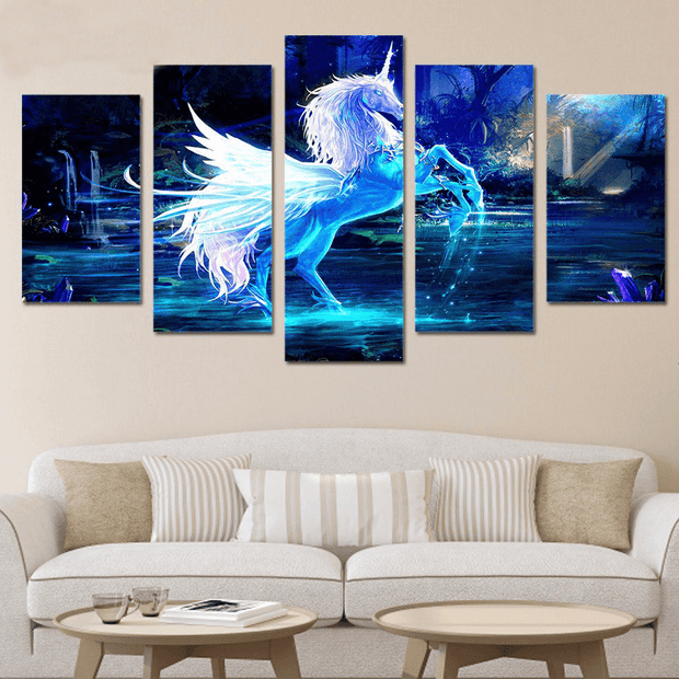 5 Panel Prints Blue Unicorn Pegasus Horse