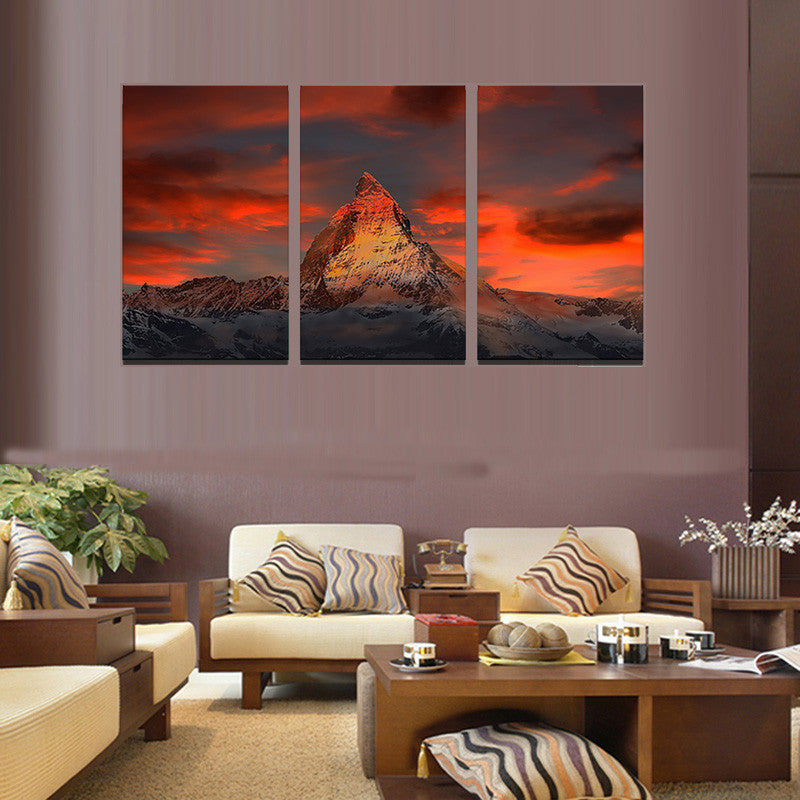 3 Panel Prints Switzerland Zermatt Mountains Sunset