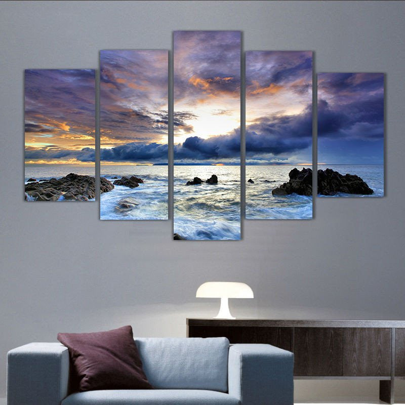 5 Panel Prints Stormy Sunset On A Rocky Ocean Shore Canvas Wall Art