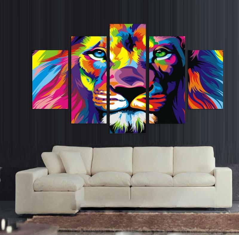 5 Panel Prints Colourful Abstract Lion King Canvas Wall Art Print