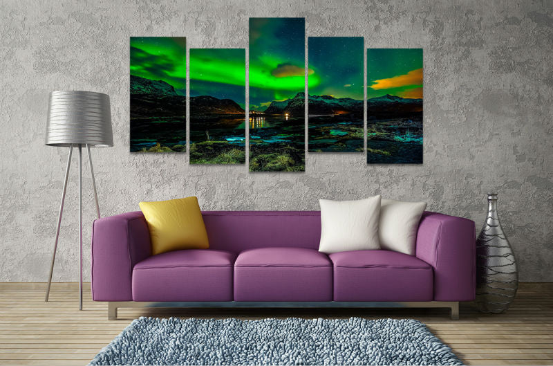 5 Panel Print Aurora Borealis Canvas Wall Art