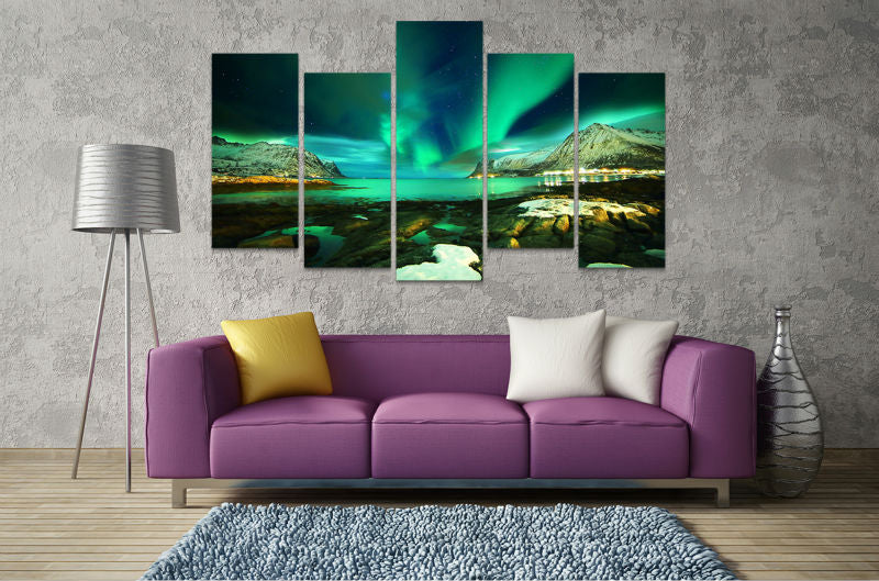 5 Panel Print Aurora Borealis Over Natural Harbour Canvas Wall Art