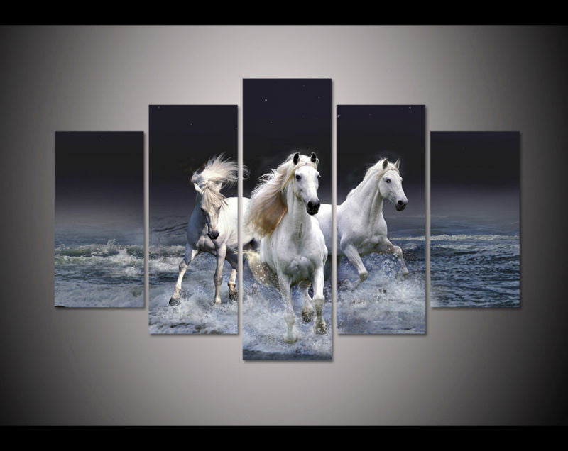 5 Panel Prints River Running White Horses