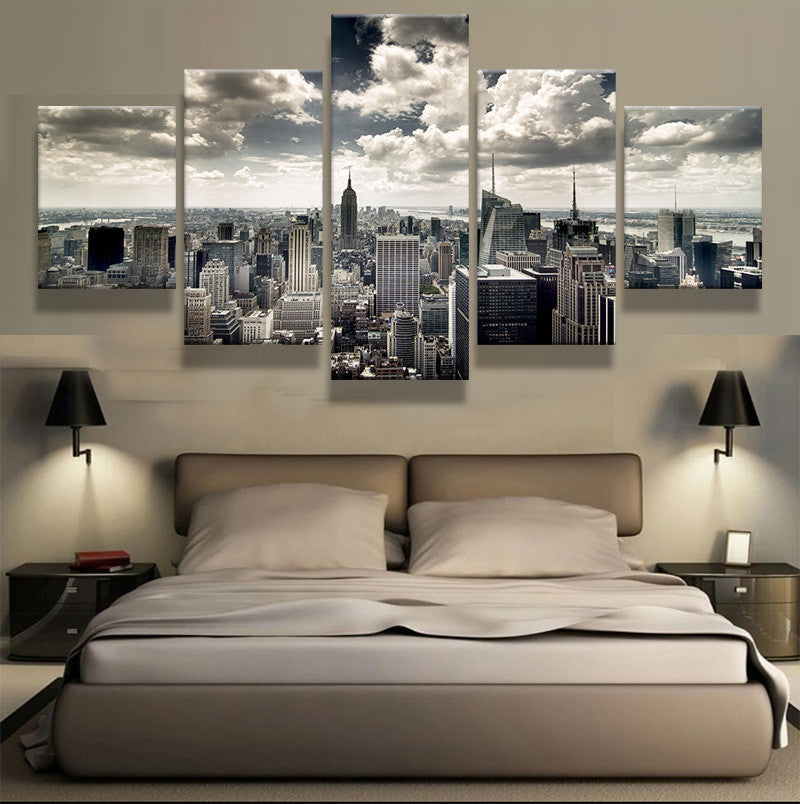 5 Panel Prints Black and White New York City Buildings