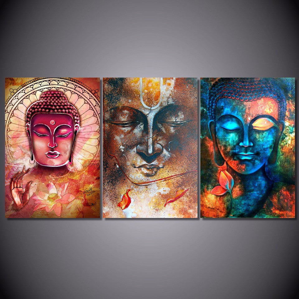 3 Panel Prints Different Buddha Images Canvas Wall Art Home Decoration