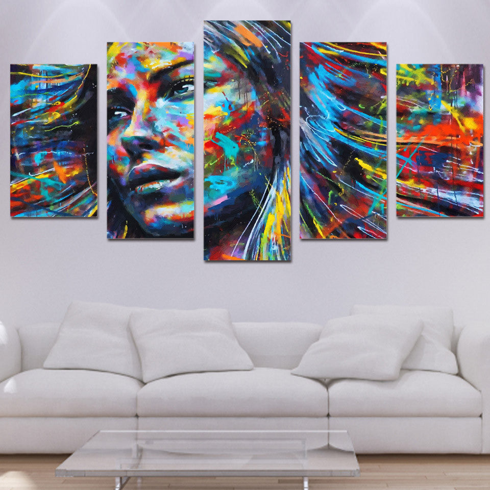 5 Panel Prints Abstract Colourful Painted Woman