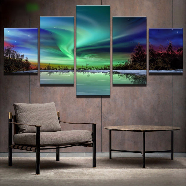 5 Panel Prints Aurora Borealis Over Forest Lake Landscape Canvas Wall Art