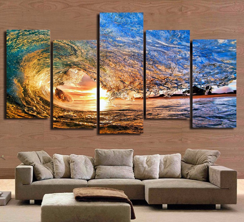 5 Panel Print Ocean Sea Wave Sunset Seascape Canvas Wall Art Print