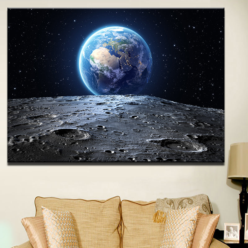 1 Panel Print Earth Rising Over Moon Canvas Wall Art