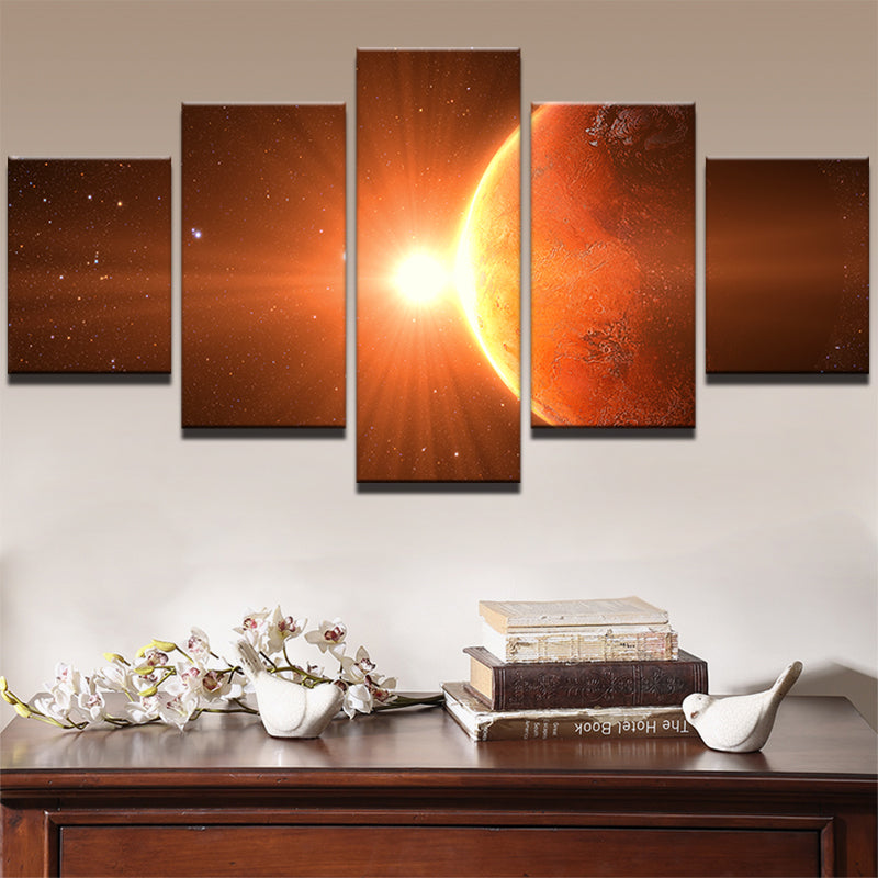 5 Panel Prints Space Sunrise Over Earth