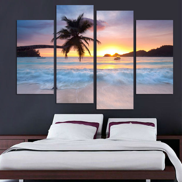 4 Panel Print Coconut Sunset On The Beach