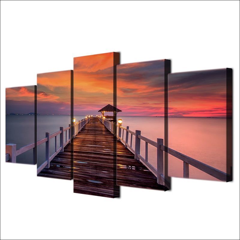 5 Panel Print Sunset On The Jetty