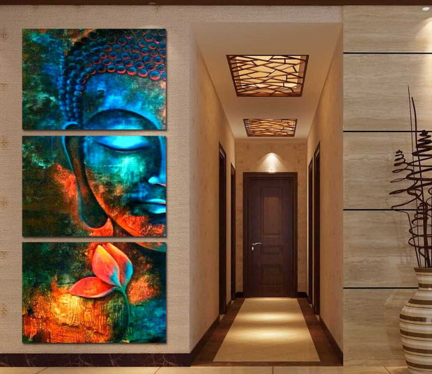 3 Panel Print Abstract Blue Buddha Framed Canvas Print