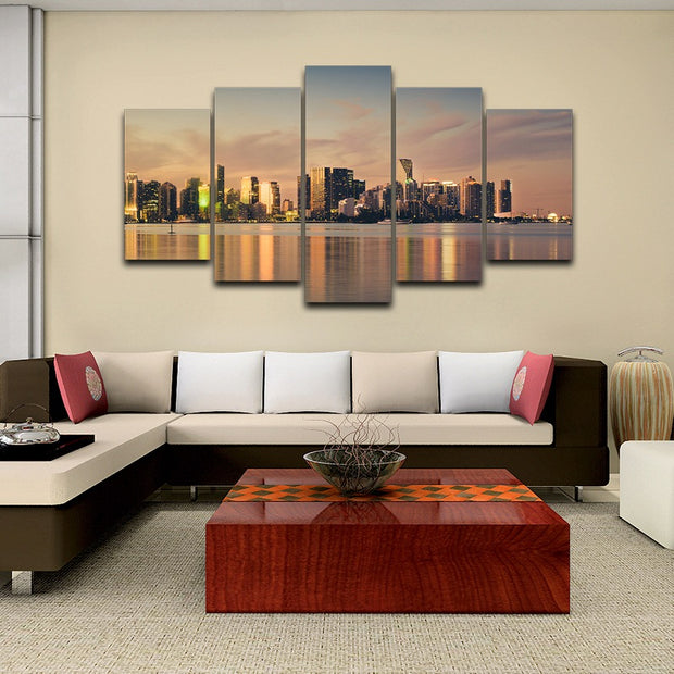 5 Panel Print Miami City Florida Canvas Wall Art Ready To Hang