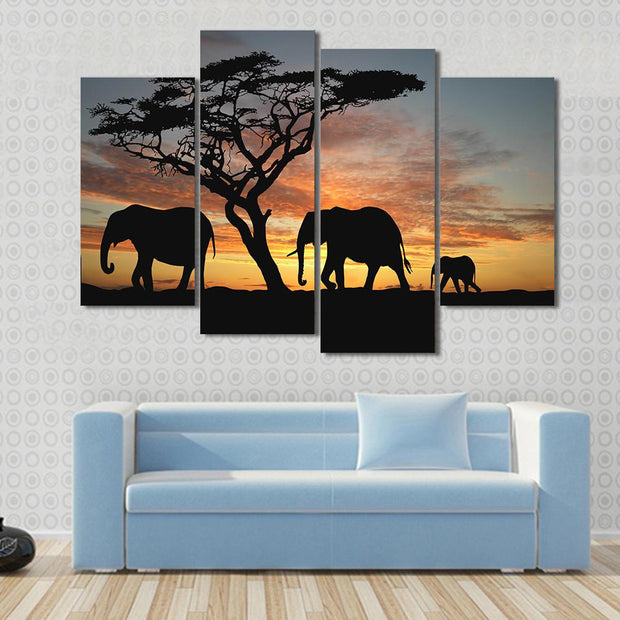4 Panel Print Elephants In Africa Sunset Canvas Wall Art