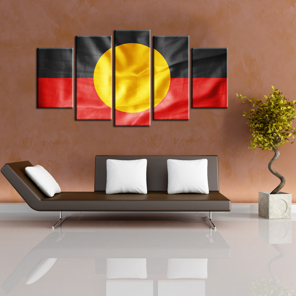 5 Panel Print Aboriginal Flag Canvas Wall Art Print Ready To Hang