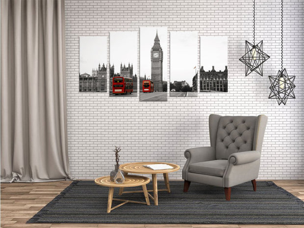5 Panel Print Big Ben London Busses Ready To Hang Canvas Wall Art