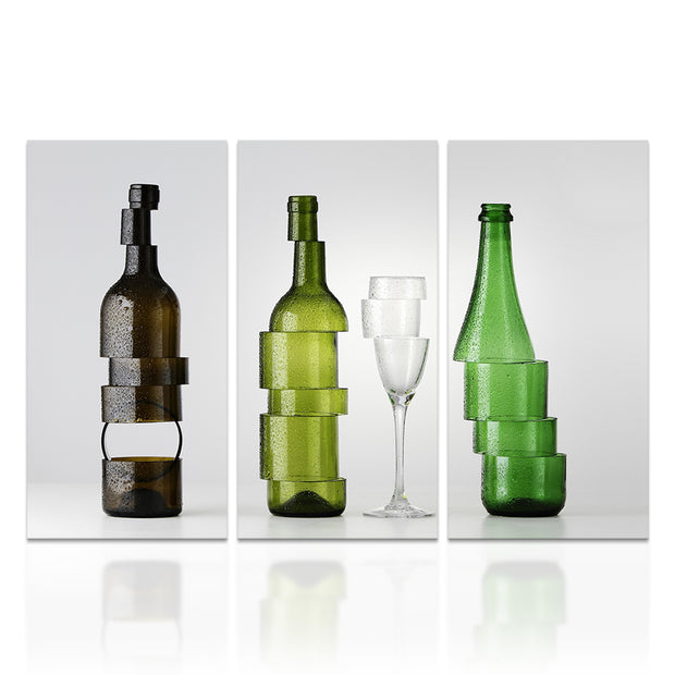 3 Panel Print Sliced Wine Bottles On Bar Canvas Wall Art Print Framed Ready To Hang
