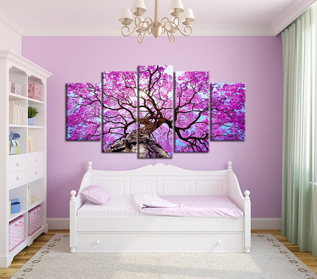 5 Panel Print Big Pink Tree Nature Landscape Canvas Wall Art Print