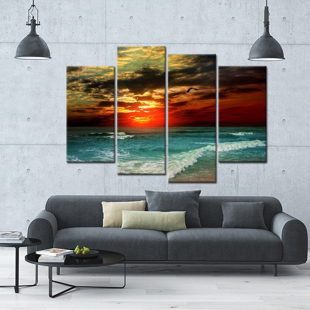 4 Panel Print Spectacular Sunset Sea View Canvas Wall Art Print
