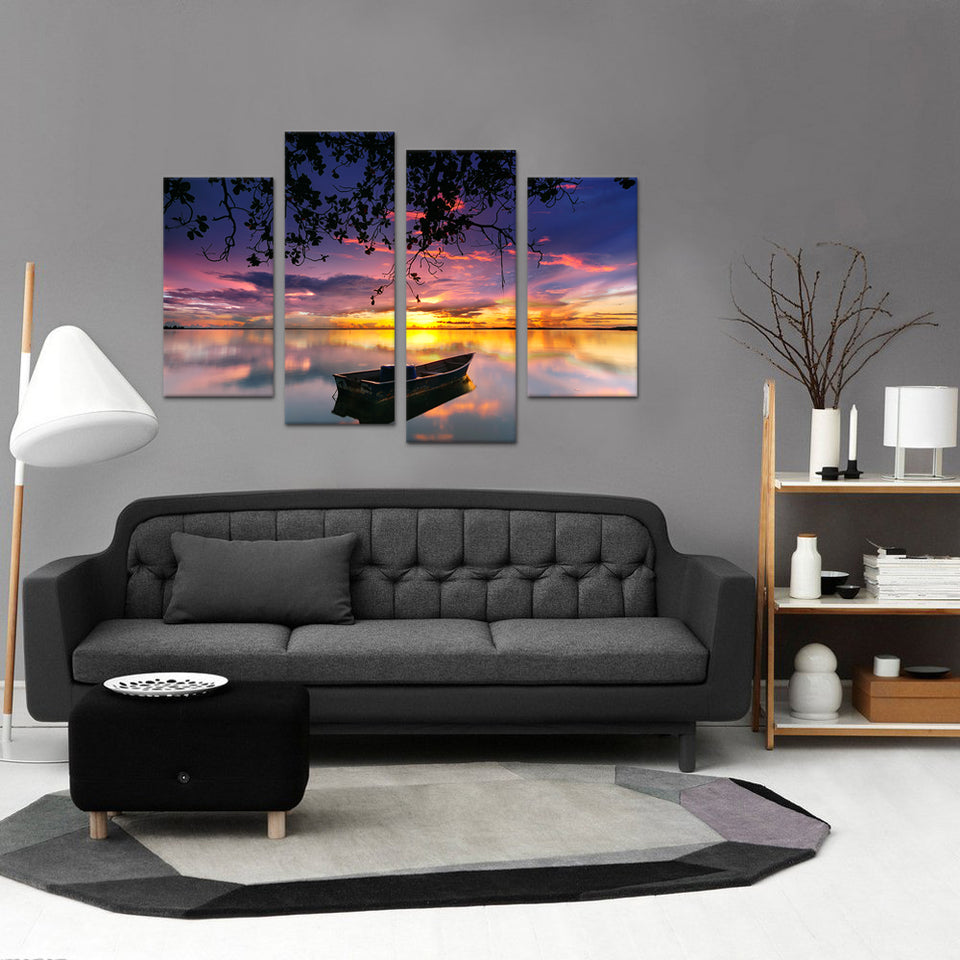 4 Panel Print Rowboat On Lake with Colourful Sunset Scenery Canvas Wall Art Print