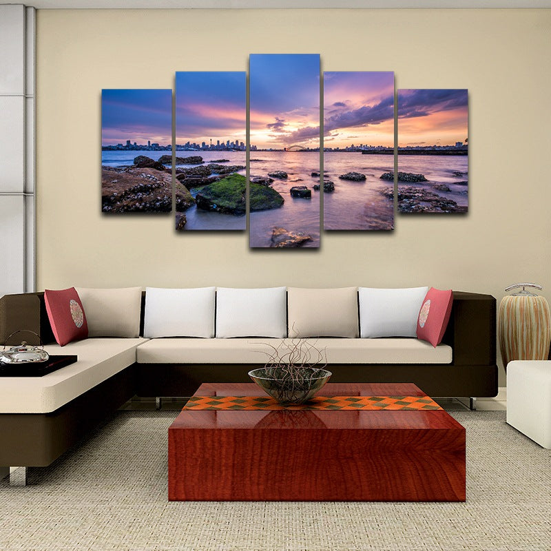 5 Panel Print Sydney Harbour Australia Ready To Hang Canvas Wall Art