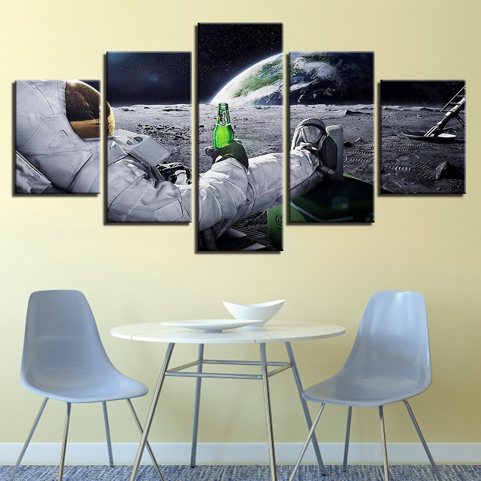 5 Panel Prints Astronaut Relaxing On The Moon With A Beer Canvas Wall Art Print