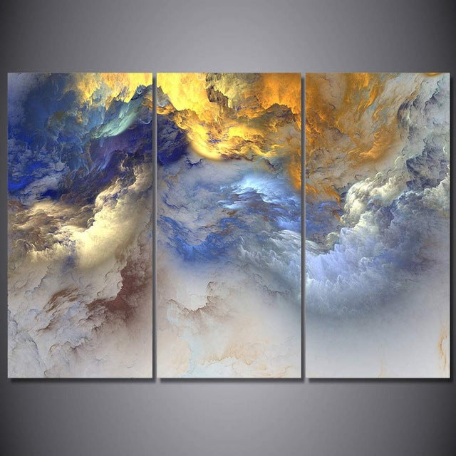 3 Panel Prints Digitally Created Abstract Psychedelic Cloud Formations (11 Variations)