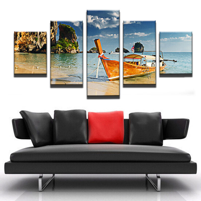 5 Panel Print Thailand Beach and Boat Canvas Wall Art Print
